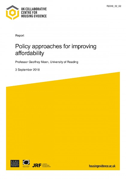 Policy approaches for improving affordability