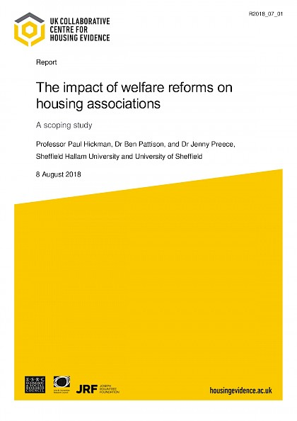 The impact of welfare reforms on housing associations, a scoping study