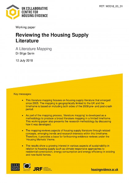 Reviewing the Housing Supply Literature