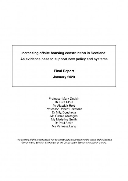 Increasing offsite housing construction in Scotland: An evidence base to support new policy and systems