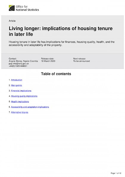 Living longer: implications of housing tenure in later life