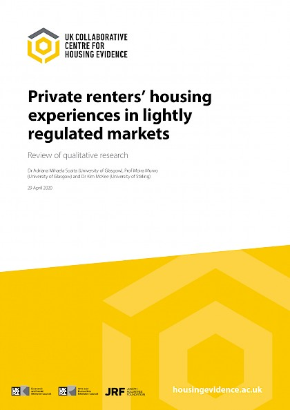 Private Renters' Housing Experiences In Lightly Regulated Markets: Review Of Qualitative Research