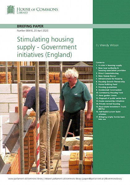 Stimulating housing supply – Government initiatives (England)