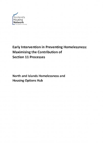 Early Intervention in Preventing Homelessness: Maximising the Contribution of Section 11 Processes