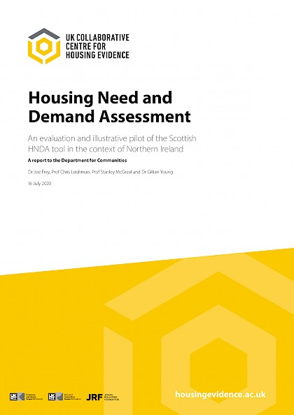 Housing need and demand assessment: an evaluation and illustrative pilot of the scottish HNDA tool in the context of Northern Ireland