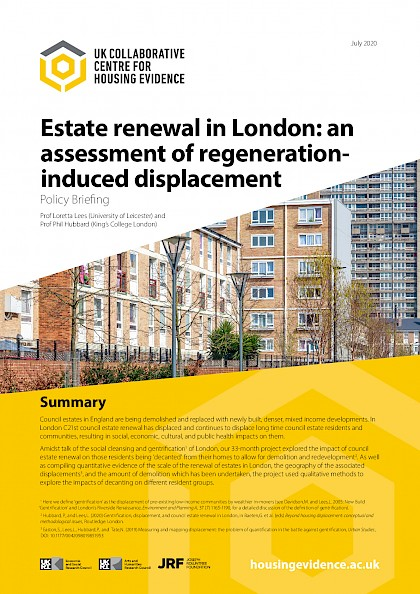 Estate renewal in London: an assessment of regeneration induced displacement