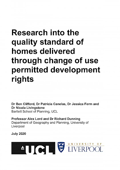 Quality standard of homes delivered through change of use permitted development rights