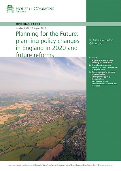 Planning for the Future: planning policy changes in England in 2020 and future reforms