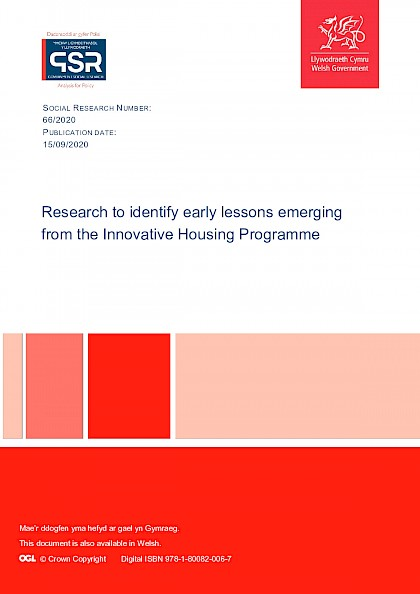Research to identify early lessons emerging from the Innovative Housing Programme