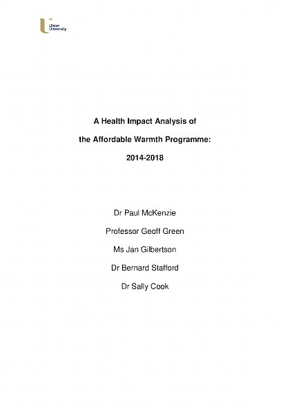 A Health Impact Analysis of the Affordable Warmth Programme: 2014-2018
