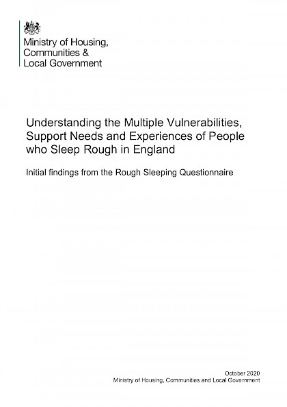 Understanding the Multiple Vulnerabilities, Support Needs and Experiences of People who Sleep Rough in England